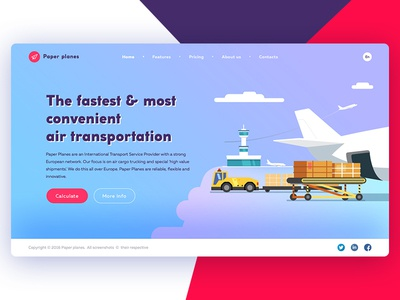 Concept for Air Freight Services flat gradient illustration color web design ux ui