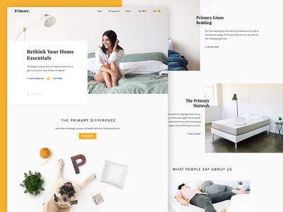 Primary - Premium bedding & mattress halo lab website concept promo minimal layout main ux design ui