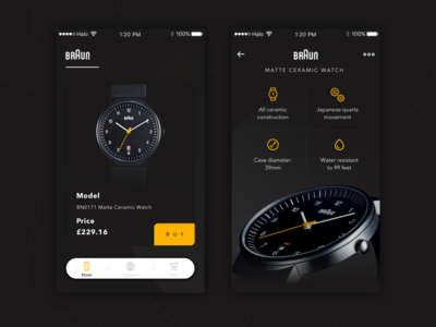 Braun Store App design clean product card store ios mobile app black app icons ux ui