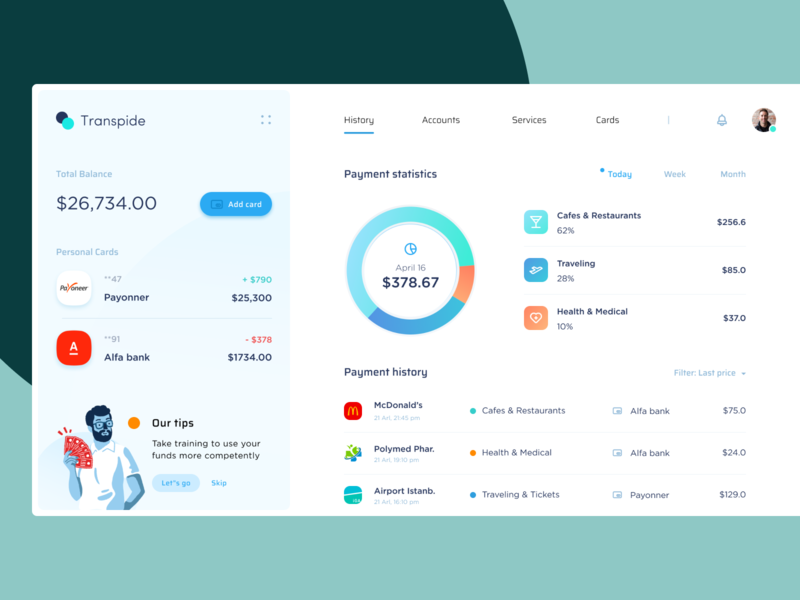 Transpibe - Spendings Dashboard finance fintech desktop dashboard clean icon illustration app ux web ui design