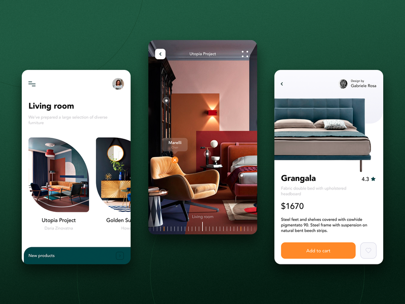 Furniture Space App ar app typogaphy product design ios app clean color ux design ui