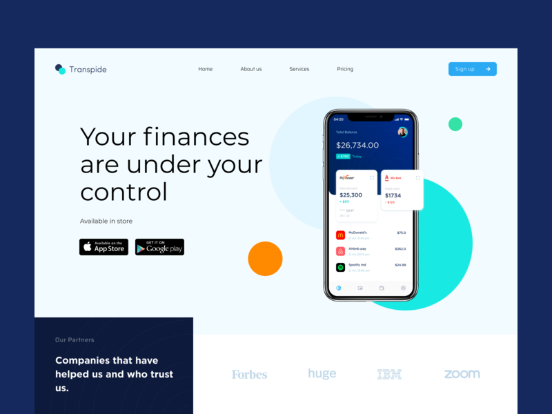 Landing Page for Transpide minimal ux website main promo clean color web design ui