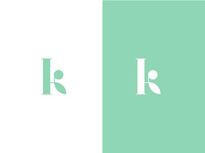 K Logo negativespace minimalist inspiration plant logo letter k logo green app plant logo