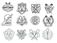 Writers Rowing Process cost of arms crest logo sketches process