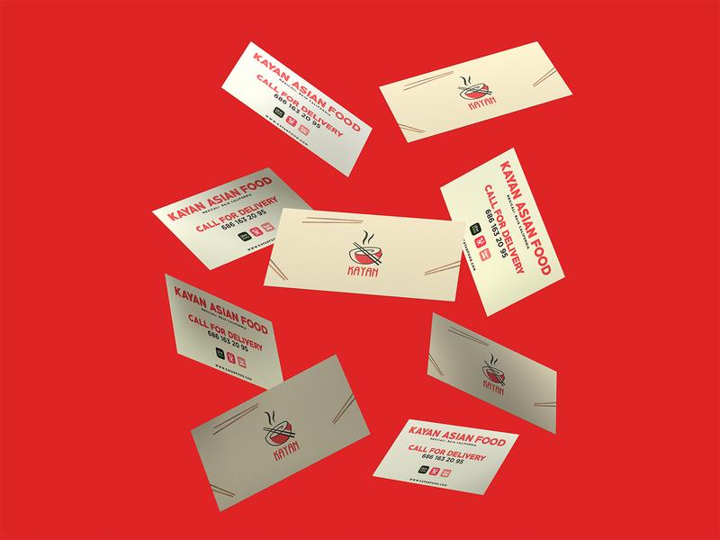 Kayan Business Cards fast food ubereats restaurant asian food chopstick logotype businesscard mexico kayan