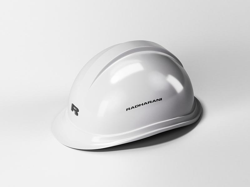 Helmet for Radharani mexico logotype designer monocromatic brand identity mockup logotype radharani branding helmet