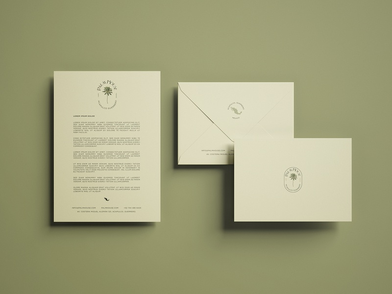 Stationery for Palm House guerrero acapulco paper logotypes typography logotype branding mail postal stationery mexico palm house