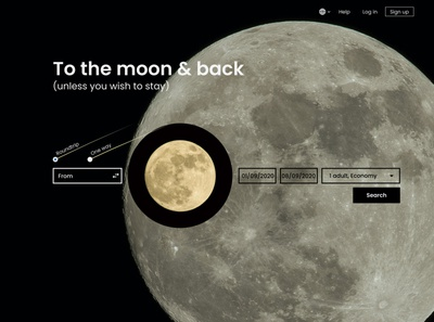Ticket selling platform for moon flights playground landing ui