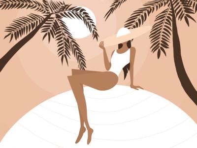 Palm trees playground color procreate illustration