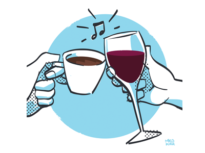 The Other Buzz coffee wine illustration
