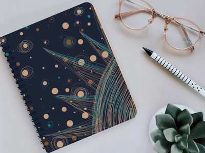 notepad with space design illustration