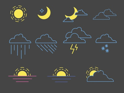 icons for the weather forecast design flat icon vector
