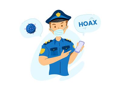 Police Against Hoax About Virus police coronavirus cute flat vector illustration design