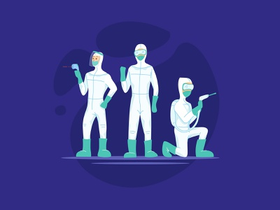 Health Workers in Hazmat Suit flat ui cute vector illustration design