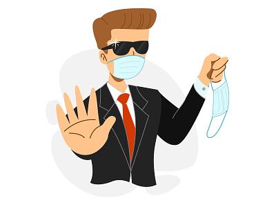 No Mask, No Entry! mask security coronavirus minimal flat illustration vector design