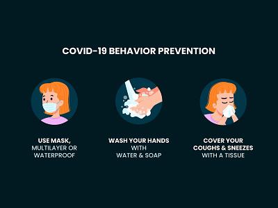 COVID-19 Behavior Prevention coronavirus flat vector illustration design