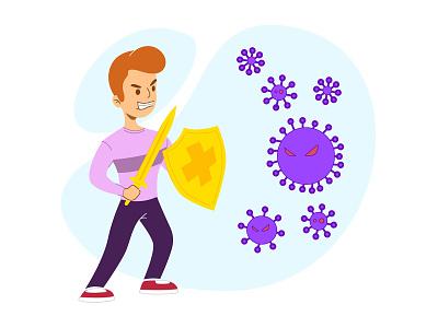 Strong Antibodies Against Viruses cute minimal flat vector illustration coronavirus design