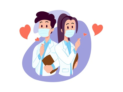 Doctor with Korean Love Sign cute minimal flat vector illustration design doctor coronavirus