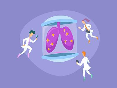 Examining Infected Lungs cute minimal flat vector illustration design doctor coronavirus