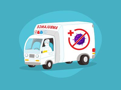 Special Ambulance Virus emergency pandemic virus hazmat doctor hospital ambulance covid-19 corona coronavirus cute minimal flat vector illustration design