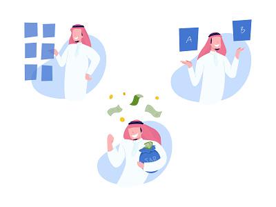 Arab Finance Illustrations money business arab finance culture branding cute minimal flat vector illustration design