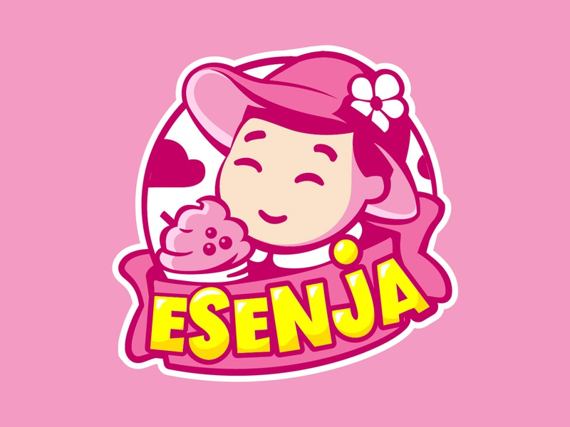 ESenja drink girl little ice icecream branding pink logo cute vector illustration design