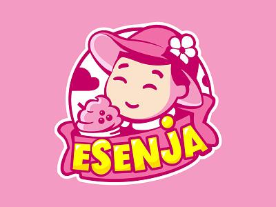 ESenja drink girl little ice icecream branding pink logo cute vector illustration design