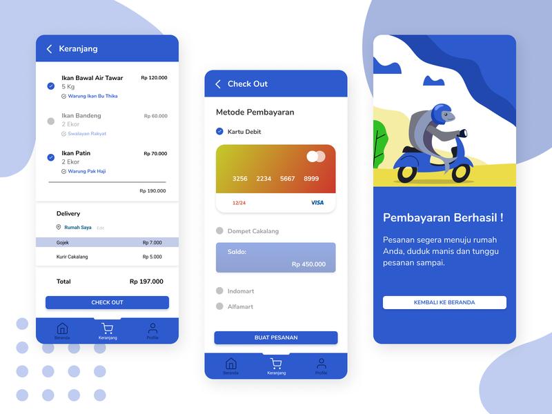 Cakalang App - Payment Process ux ui illustration flat fish ui design app design app design
