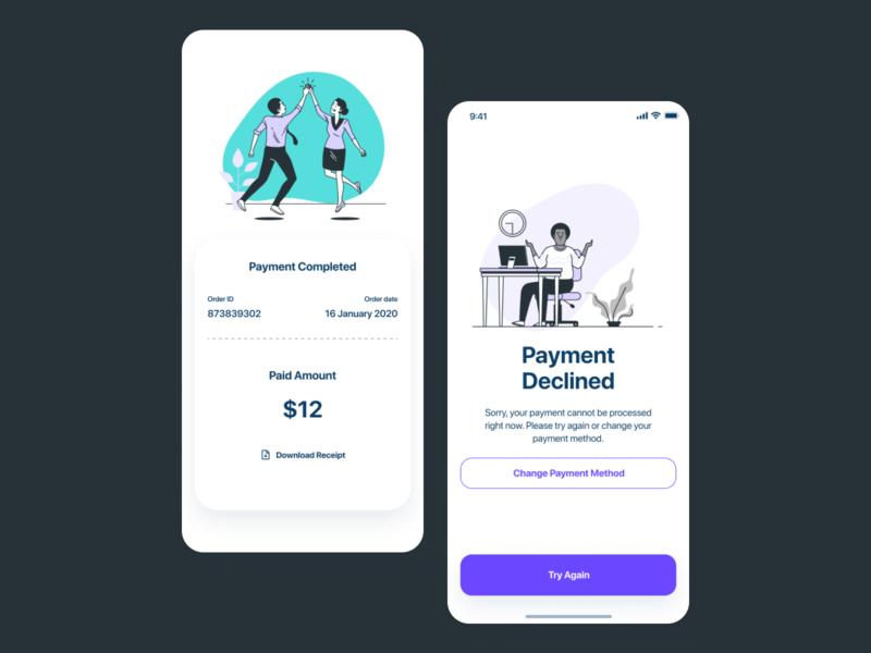 Payment Success & Declined State UI user interface illustraion payment app ui figma mobile app app interface ui design dribbble best shot ios app design uiux