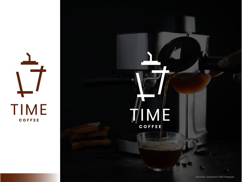 Time Coffee minimal art ux vector ui icon branding illustration logo design