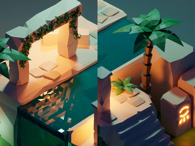 Gettin familiar with Blender runway polygon 3d ruins ancient render lowpoly low poly blender