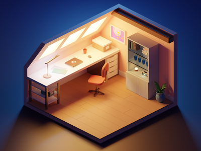 A little home office figma light warm room render low-poly low poly blender3d blender design 3d
