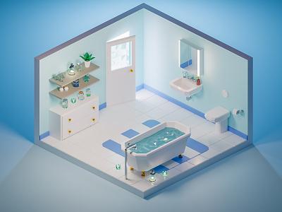 Low poly bathroom 🛁 pastel glass jars bathroom bathtub low-poly blender3d low poly blender 3d