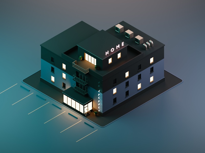 Home sunset night lights isometric vacancy home hotel illustration render low-poly blender3d low poly blender 3d