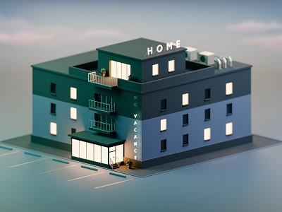 Home sunset night lights isometric vacancy home hotel illustration render low-poly blender3d low poly blender 3d