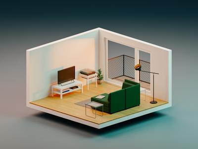 Living room lifestyle isometric sunlight light interior room render low-poly blender3d low poly blender 3d