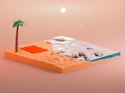 Low poly beach sunlight beach sand tree palm isometric render low-poly blender3d low poly blender 3d