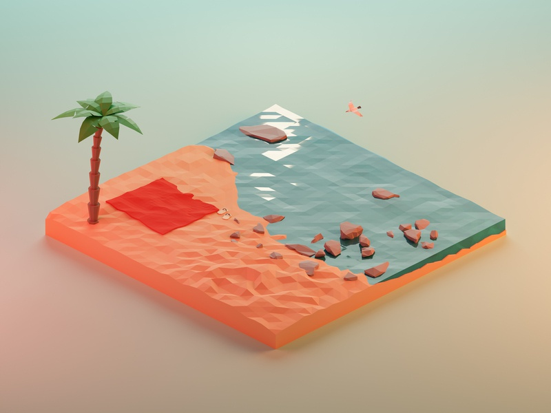 Big Sur rocks scene palm waterfront sea beach sunlight light illustration isometric render low-poly low poly blender 3d