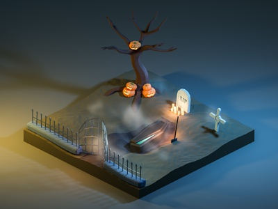 A little trick as a treat 👻 halloween design grave candlelight isometric blender3d render low poly low-poly 3d blender candles illustration cemetery trick-or-treat trick or treat trickortreat halloween