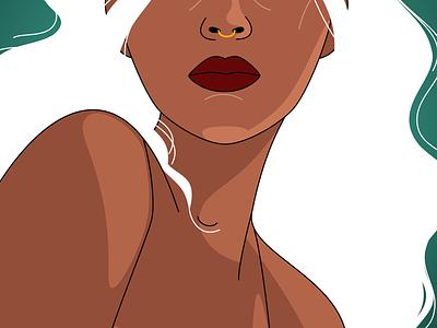 Nite and Dey vector art vector hair white nose ring dark woman black illustration figma