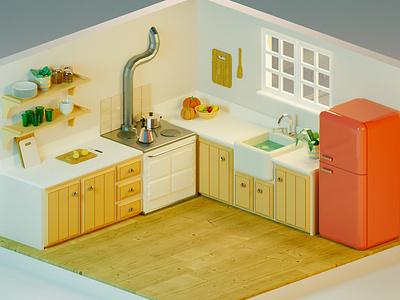 Cozy kitchen cozy fridge red pumpkin kitchen illustration isometric blender3d render low-poly low poly blender 3d