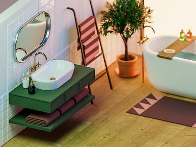Bathroom remodeling 🛀 calm bathtub bathroom light isometric illustration blender3d render low-poly low poly blender 3d