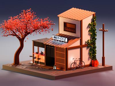 Noodle bar (神田やぶそば) street japan japanese soba bar noodle art isometric illustration blender3d render low-poly low poly blender 3d