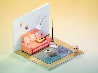 Mini living room isometric living room art light blender3d low-poly render low poly blender 3d