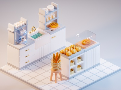 Bakery coffee shop pastry rolls bread bakery isometric blender3d render low-poly low poly blender 3d