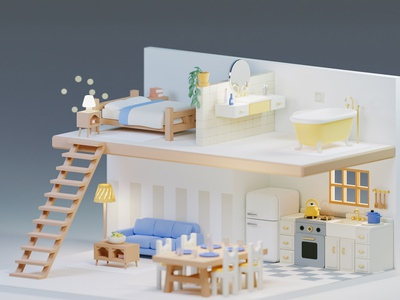 Not much going on here... ✨ sparkles apartment bathroom bedroom living room kitchen isometric blender3d render low-poly low poly blender 3d