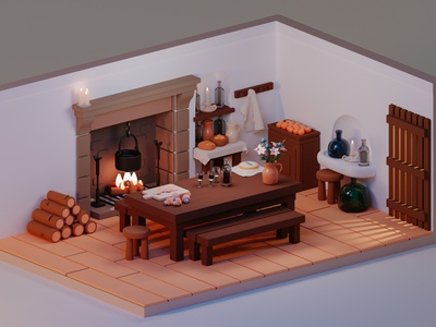 The kitchen from Portrait of a Lady on Fire candles wine fireplace cozy old kitchen illustration design isometric blender3d render low-poly low poly blender 3d