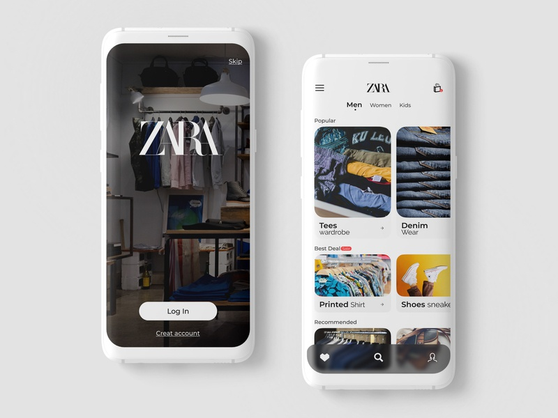 ZARA APP - Redesign dresses shopping cart trendy fashion app shopping app zara brand design colors colorful ui ux design dribble shot branding app userinterface figma