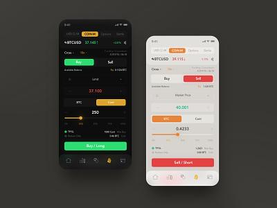 Crypto Trading dark mode ux bitcoin trade iphone ios app wallet trading crypto ui