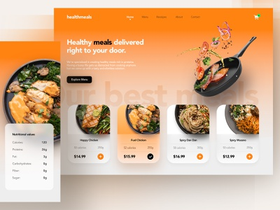 Food Delivery Landing Page delivery app health ux ui store checkout design webdesign web page landing delivery food